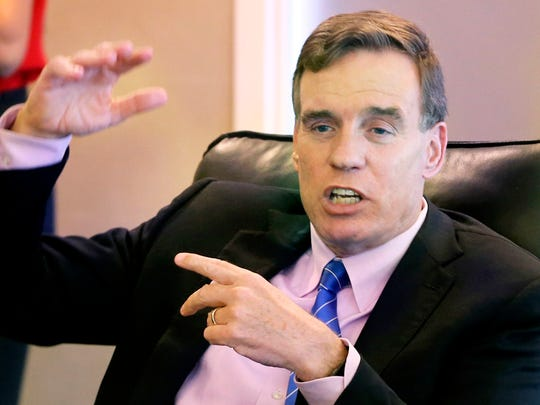 United States Sen. Mark Warner, D-Va.,  speaks on Monday,