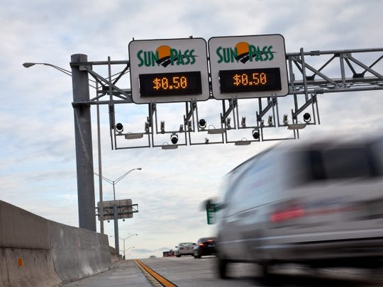 The express toll lanes are Sun Pass only lanes and