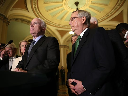 Sen. John McCain (R-AZ) is pictured here speaking with