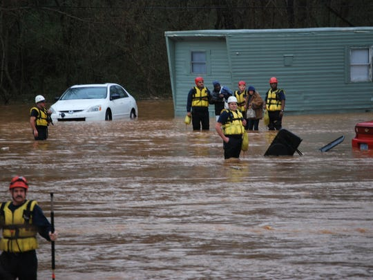 Rising Flood Waters Force Rescue Operations In Gastonia