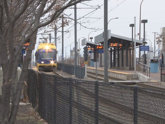 Light rail train near the 46th Street station in Minneapolis.