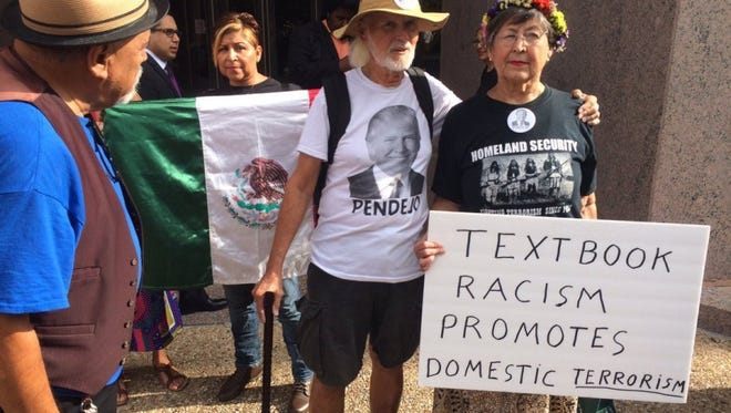 """Opponents of the """" Mexican American Heritage"""" textbook that believe it's anti-Hispanic rallied Sept. 13, 2016, in Austin before the State Board of Education began the process of deciding whether to have it taught in Texas public schools."""