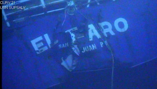 This undated image made from a video by the National Transportation Safety Board shows the stern of the sunken ship El Faro.