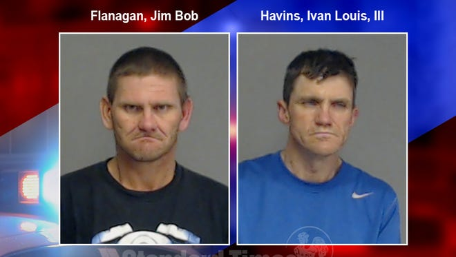 Mug shots of Jim Bob Flanagan and Ivan Louis Havins, III in connection to a case involving aggravated assault with a deadly weapon