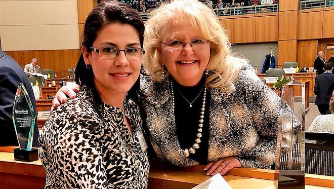 From left, Deming educator Melanie Alfaro and Rep. Candie Sweetser (D-Deming) at the state legislature on Thursday, Jan. 25.