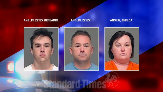 Benjamin Zzyzx Anglin Sr., Shelda Anglin and Benjamin Zzyzx Anglin Jr. were arrested on suspicion of possession of marijuana between 50 and 2,000 pounds Thursday, May 3, 2018.