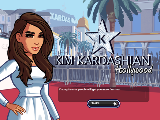 "1. Kartoon Kim greets you on the welcome screen. As the game loads, helpful hints pop up, including this gem: ""Dating famous people will get you more fans too."""