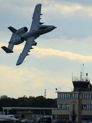 An A-10C aircraft is seen flying at Warfield Air National Guard, Baltimore, Md., on Oct. 17, 2015. It was the final flight carried out by U.S. Air Force Brig. Gen. Scott L. Kelly, 175th Wing commander, Maryland Air National Guard.