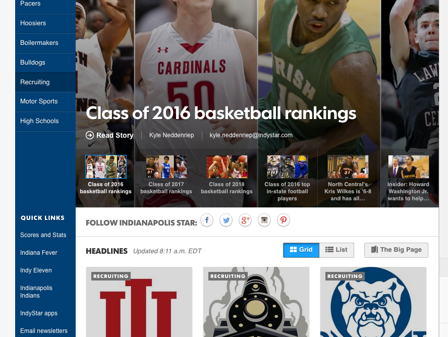 Screenshot of IndyStar's Recruiting Central