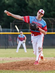 Arrowhead senior Tanner Williams (2) delivers a pitch