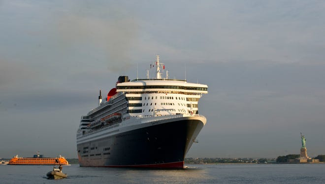 Cunard's Queen Mary 2 arrives in New York on July 14, 2015.