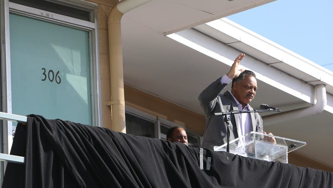 The Rev. Jesse Jackson addresses the crowd outside the National Civil Rights Museum during the commemoration ceremony for the 50th Anniversary of Martin Luther King Jr.'s assassination, April 4, 2018, in Memphis. Jackson will be honored with the NCRM's Freedom Award this year.