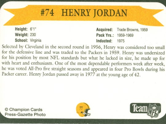 Packers Hall of Fame player Henry Jordan