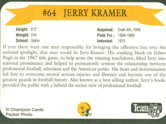 Packers Hall of Fame player Jerry Kramer