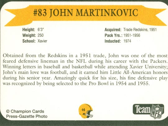 Packers Hall of Fame player John Martinkovic