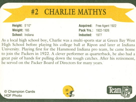 Packers Hall of Fame player Charlie Mathys