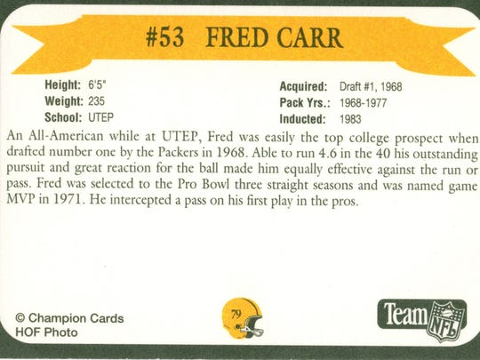 Packers Hall of Fame player Fred Carr