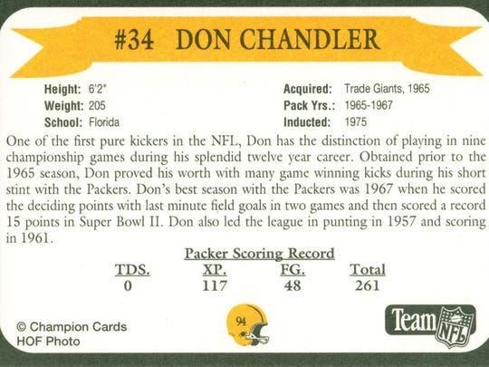 Packers Hall of Fame player Don Chandler