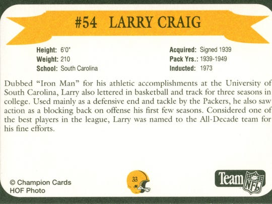 Packers Hall of Fame player Larry Craig