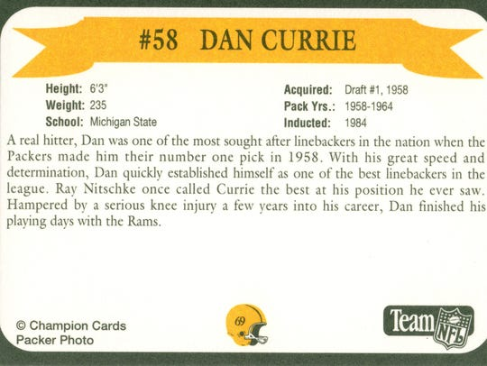 Packers Hall of Fame player Dan Currie