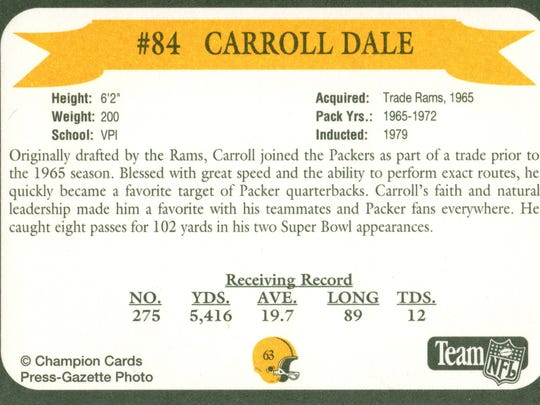Packers Hall of Fame player Carroll Dale