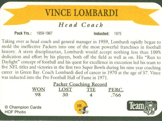 Packers Hall of Fame coach Vince Lombardi
