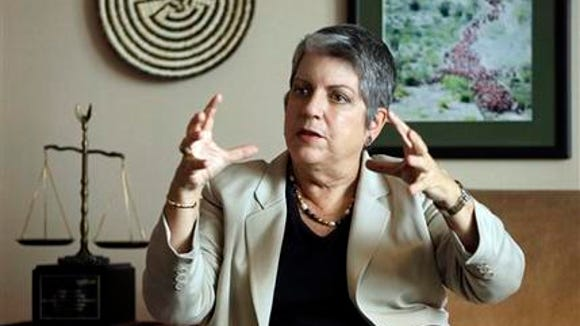 In this Sept. 30, 2014, file photo, University of California President Janet Napolitano gestures while speaking during an interview in Oakland, Calif. Napolitano is recommending tuition increases in each of the next five years as a way to keep the public university system going and growing amid what she says is the state's failure to adequately invest in higher education. The university's governing board will vote on the proposal, set to be announced Thursday, at its Nov. 19 meeting. (AP Photo/Ben Margot, File)