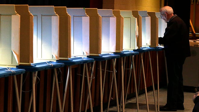 Privacy booths await voters in the April 3 race for the Oak Creek-Franklin Joint School Board race