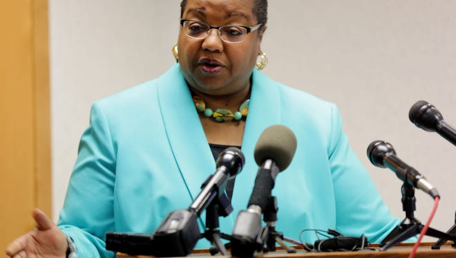 Kym L. Worthy, Wayne County Prosecutor holds a press conference addressing the Davonte Sanford Case during a lively and lengthy press conference Thursday, June 9, 2016 on the 12th floor of the Frank Murphy Hall of Justice in Detroit.