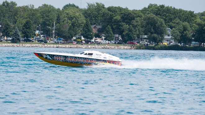 Jersey Outlaw takes off at the start of the Class 4 race Sunday during the St. Clair River Classic Offshore Powerboat races in St. Clair.
