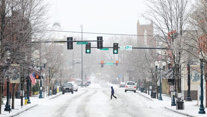 Most businesses on Main Street in downtown Franklin were closed due to the weather.