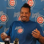 Manny Ramirez smiles during a news conference at Principal Park on Monday in Des Moines . Ramirez, a two-time champion with Boston and a two-time offender of Major League Baseball's rules against performance-enhancing drugs, joined the Triple-A Iowa Cubs as a player/coach after signing with Chicago in late May.