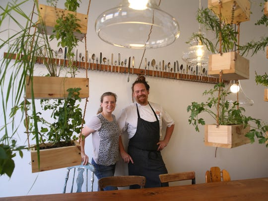 Christopher Bates, chef and sommelier, and wife Isabel Bogadtke, manager, inside their FLX Table restaurant in Geneva.
