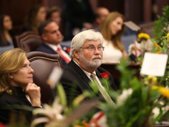 Sen. Jack Latvala sits in the chamber as legislators