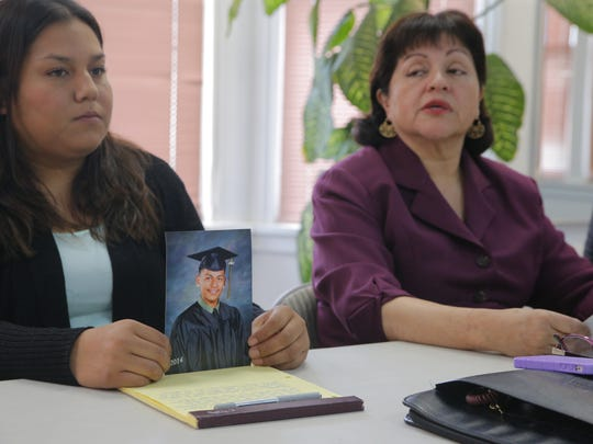 Juan Manuel Martinez's sister Viridiana Martinez and his attorney Blanca Zarazua speak at a press conference on Friday