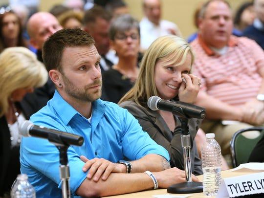 Tyler Lybert (left) testified to a U.S. Senate committee
