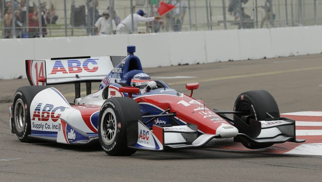 Takuma Sato, of Japan, during practice for the IndyCar Firestone Grand Prix of St. Petersburg auto race Friday, March 28, 2014, in St. Petersburg, Fla. (AP Photo/Chris O'Meara)