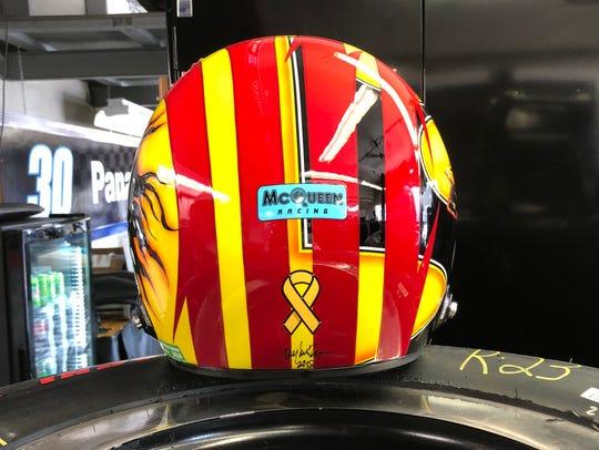 Oriol Servia's helmet he'll be wearing in Sunday's