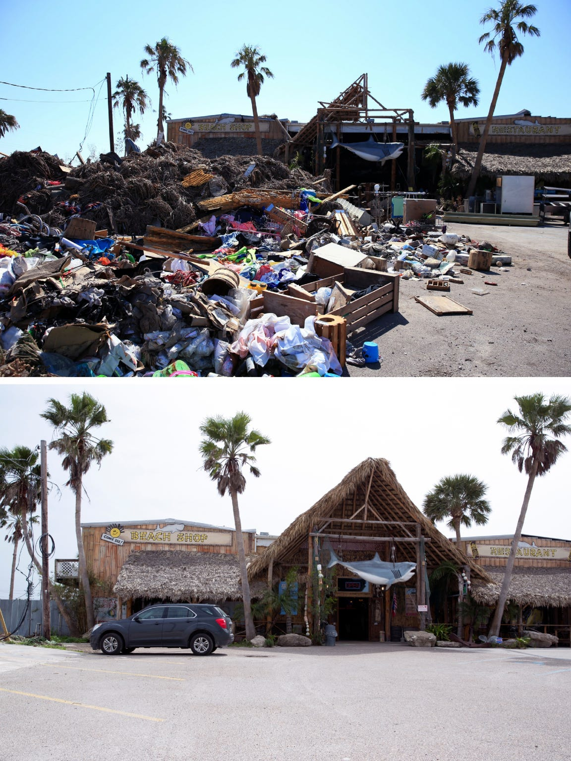 Before and after photos six months after Hurricane