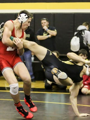 Delsea's Billy Janzer and Seon Bowker of Southern wrestle last month. Delsea is ranked No. 5 in the state.