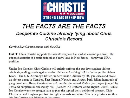 News release from the Christie for Governor campaign from June 6, 2009.