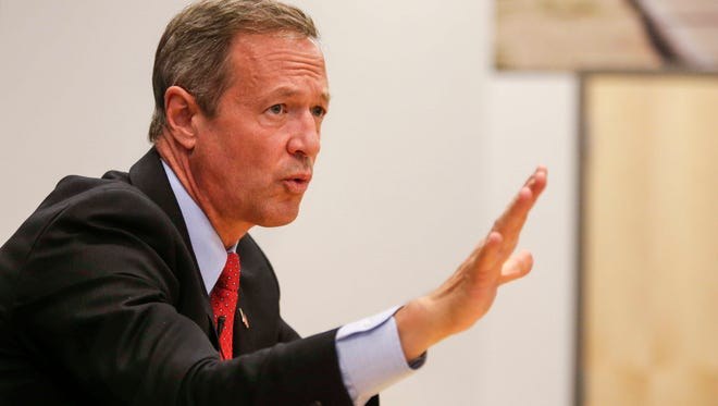 Former Maryland Gov. Martin O'Malley, who is running for president of the United States as a democrat, answered questions and addressed issues close to him as he met with the editorial board at the Des Moines Register on Thursday, Oct. 29, 2015.
