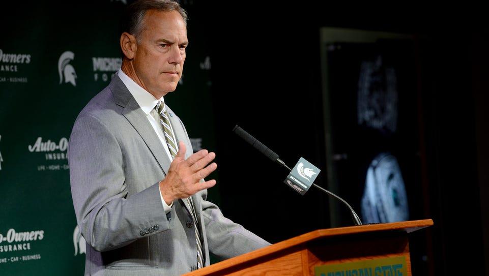 Michigan State head coach Mark Dantonio speaks at his