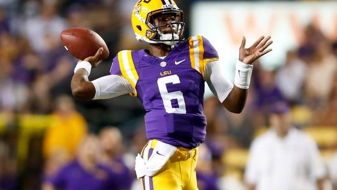 LSU quarterback Brandon Harris (6) considered Auburn during the recruitment process.
