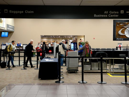 Approximately 600 Transportation Security Administration workers in Michigan are working without pay during the partial government shutdown, including about 30 stationed at the Capital Region International Airport, pictured here.