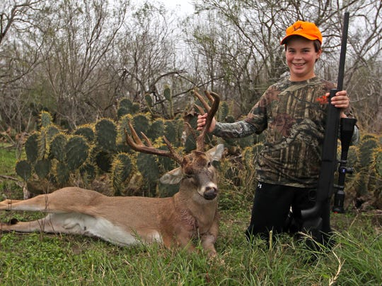 Jake Ballard, 13, fulfilled his dreams of a South Texas whitetail hunt with this nice, heavy-horned 10-point buck