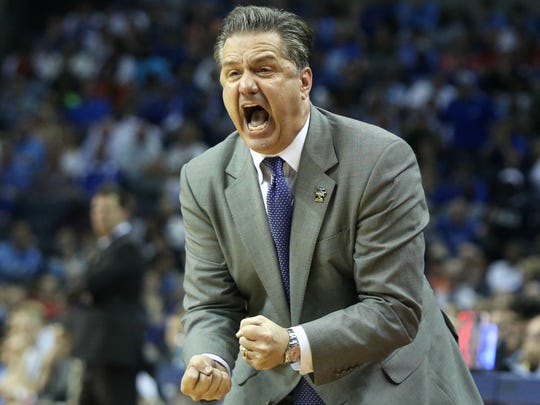 Kentucky head coach John Calipari reacts during their game against UCLA during their NCAA South Regional game at FedExForum.