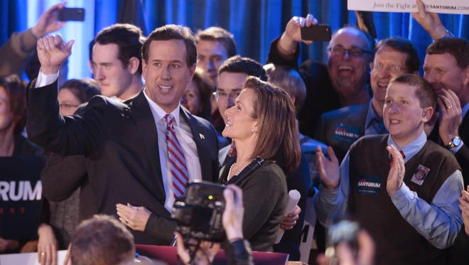 Republican presidential candidate Rick Santorum addresses supporters on the night of the 2012 Iowa caucuses