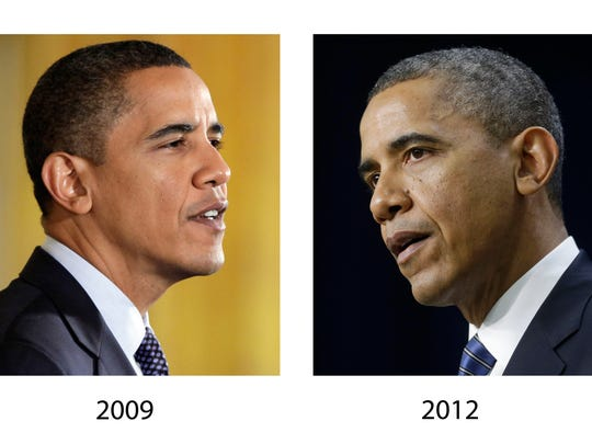 These file photos, Oct. 7, 2009, left, and Nov. 28,
