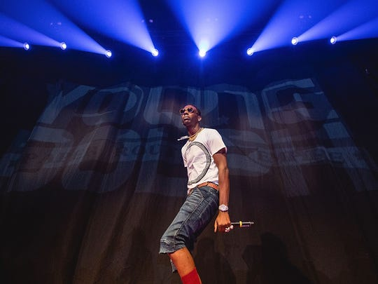 Rapper Young Dolph in concert on Sept. 25, 2017, in Austin, Texas.
